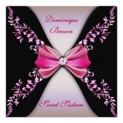 Elegant Pink And Black Invite With Diamond Bow Square Invitation Card