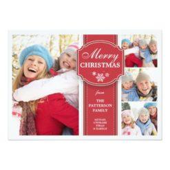 Elegant Red & White Snow 4 Photo Greeting Card Invitation Card