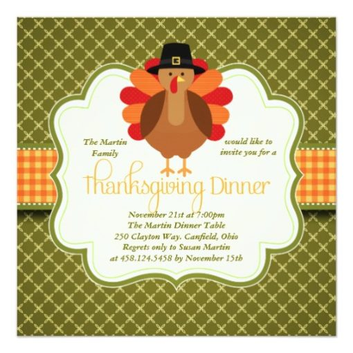 Elegant Rustic Cute Turkey Thanksgiving Dinner Square Paper Invitation Card