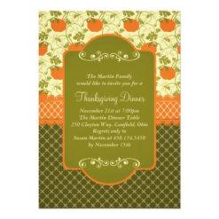 Elegant Rustic Pumpkins Thanksgiving Dinner Invitation Card