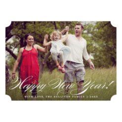 Elegant Script   Happy New Year Photo Flat Card Invitation Card