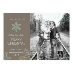 Elegant Snowflakes Holiday Photo Card Invitation Card