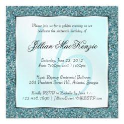 Elegant Sparkling Teal Sweet 16 Glitter Invite Square Invitation Card