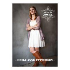 Elegant Swirl Photo Graduation Party Announcement Invitation Card