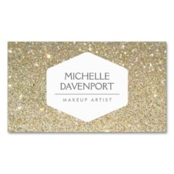 Elegant White Emblem On Gold Glitter Background Double-Sided Standard Business Cards (Pack Of 100)