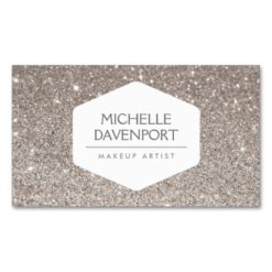 Elegant White Emblem On Silver Glitter Background Double-Sided Standard Business Cards (Pack Of 100)