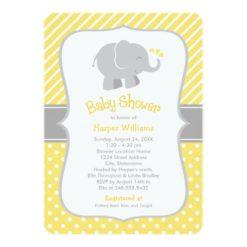 Elephant Baby Shower Invitations   Yellow And Gray Invitation Card