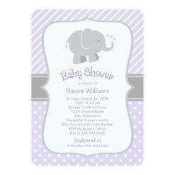 Elephant Baby Shower Invitations   Purple And Gray Invitation Card