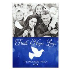 Faith Hope Love Christmas Dove Photo Card Invitation Card