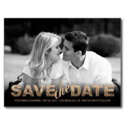 Fake Gold Glitter Save The Date Photo Postcard
