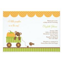 Fall Baby Bear In Wagon Invitation Card