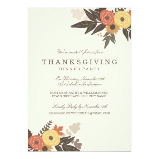 Fall Foliage Thanksgiving Dinner Invitation Card