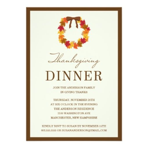 Fall Wreath In Brown | Thanksgiving Dinner Invitation Card