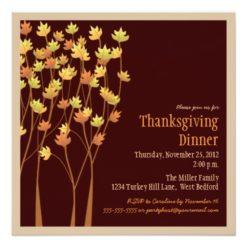 Falling Autumn Leaves Thanksgiving Invitation Square Invitation Card