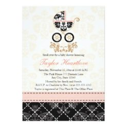 Fancy Pink And Black Damask Carriage Baby Shower Invitation Card