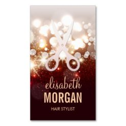 Fashionable Hair Stylist - Gold Glitter Sparkle Double-Sided Standard Business Cards (Pack Of 100)