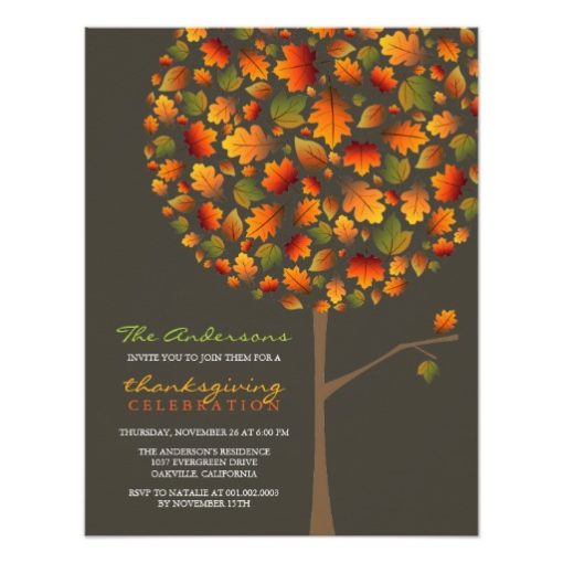 Fatfatin Autumn Leaves Pop Tree Thanksgiving Paper Invitation Card