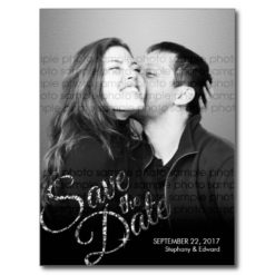Faux Glitter Silver Save The Date Photo Postcard
