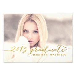 Faux Gold Foil | 2015 Graduation Party Invitation Card