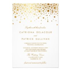 Faux Gold Foil Confetti Elegant Wedding Invitation Card