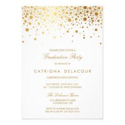 Faux Gold Foil Confetti Graduation Invitation