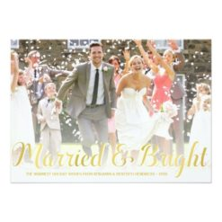 Faux Gold Foil | Newlyweds Holiday Photo Card Invitation Card