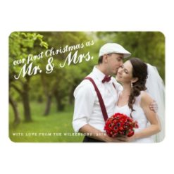 First Christmas As Mr. And Mrs. Two Photo Card Invitation Card