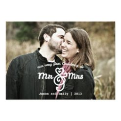 First Christmas As Mr & Mrs Holiday Photo Card Invitation Card