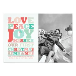 First Christmas Mr And Mrs Holiday Photo Greetings Invitation Card