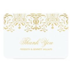 Flat Thank You Note Card | Gold Vintage Glamour Invitation Card
