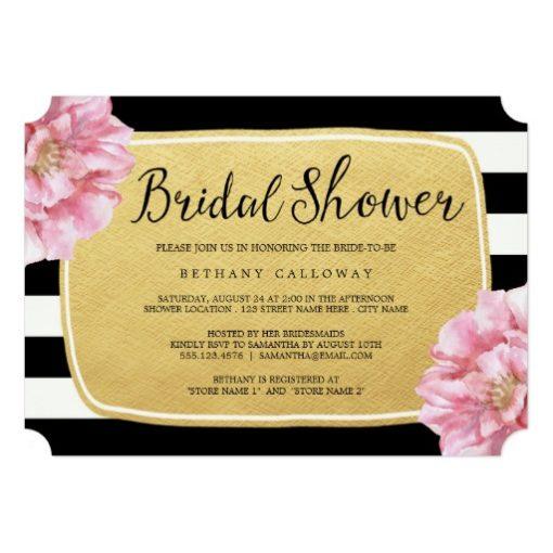 Floral Chic Bridal Shower Invitation / Gold Invitation Card