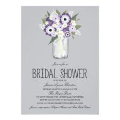Floral Mason Jar Bridal Shower Invitation Card