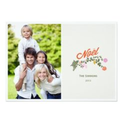 Floral Noel Holiday Photo Cards Invitation Card