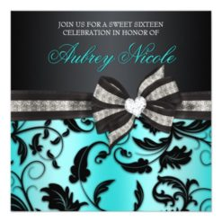 Floral Swirl Sweet Sixteen Invite With Jeweled Bow Square Invitation Card