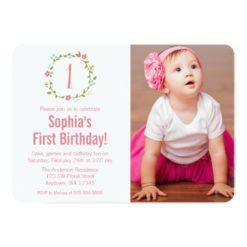 Floral Wreath Photo Girl 1St Birthday Invitation Card