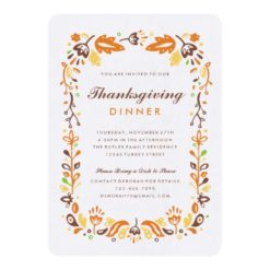 Folk Art Autumn Foliage Thanksgiving Invitation Card
