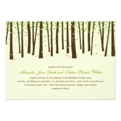 Forest Trees Wedding Invitations - Green Invitation Card