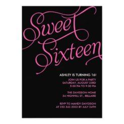 Formal Black Sweet 16 Invitation Card