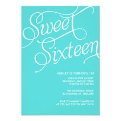 Formal Blue Sweet 16 Invitation Card