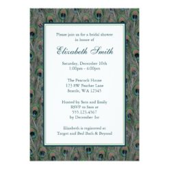 Formal Peacock Feathers Bridal Shower Invitation Card