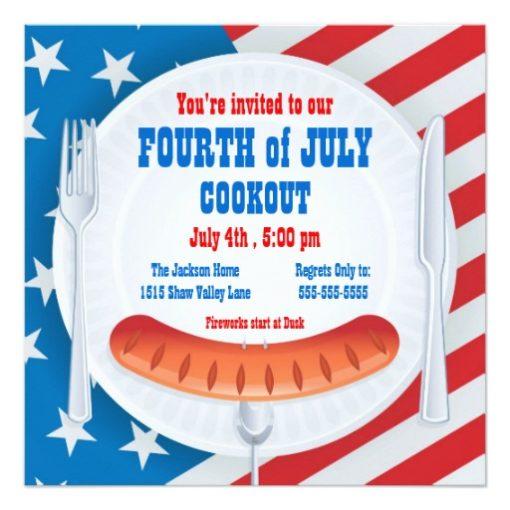 Fourth Of July Cookout Invitation Square Invitation Card