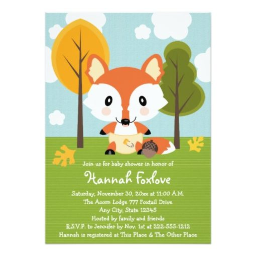 Fox In Diapers Baby Shower Invitation Card