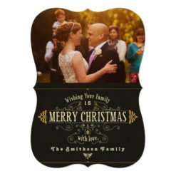 French Vintage Photo Merry Christmas Card Invitation Card