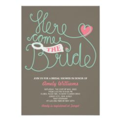 Fun Lettering Pink Brown Bridal Shower Invitation Card