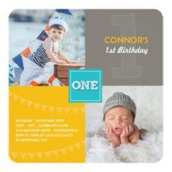 Fun Modern Squares One Photo Baby Boy 1St Birthday Square Paper Invitation Card