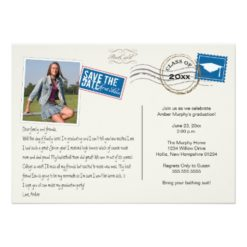 Fun Postcard Style Graduation Party Invitation Card