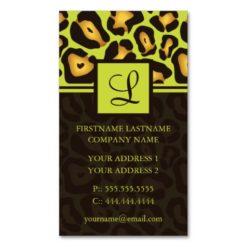 Funky Leopard Monogram Business Cards