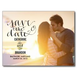 Funky Writing Save The Date Postcard