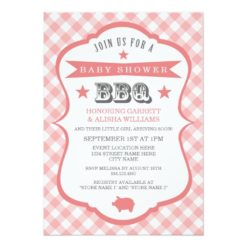 Gingham Barbecue Baby Shower Invitation / Coral Invitation Card