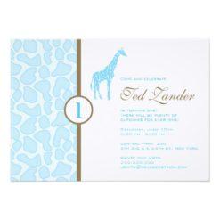 Giraffe Birthday Invitation - Boy Invitation Card